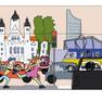 Bunte Zeichnung von einem Stadtszenario. Zwei Kinder fahren auf Rollschuhen, um sie herum viele Autos, im Hintergrund das Neue Rathaus und das City-Hochhaus.