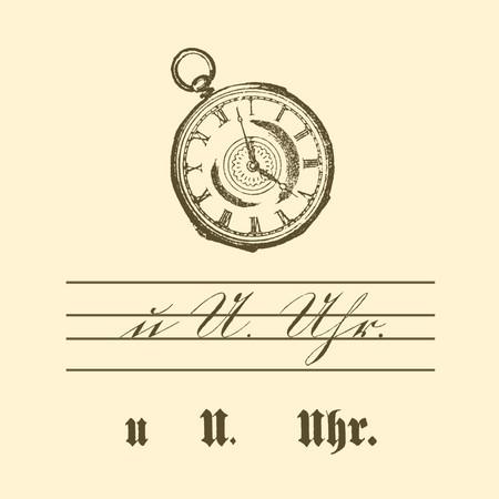 """Übungstafel einer deutschen Fibel von 1886 mit Motiv Uhr, sowie kleinem und großem Buchstaben """"U"""" in Schreib- und Druckschrift."""