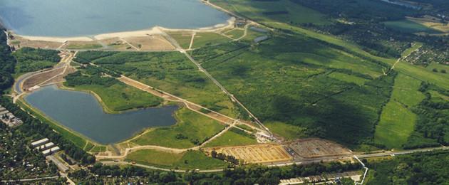 Luftaufnahme des Cospudener Sees
