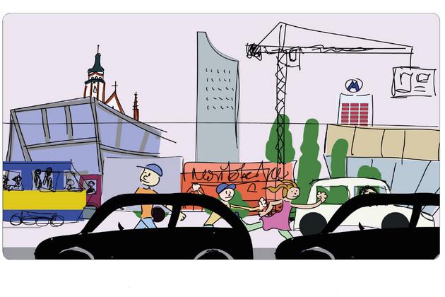 Bunte Zeichnung eines Stadtszenarios mit zwei Kindern auf einer vielbefahrenen Straße, im Hintergrund Thomaskirche, Gewandhaus und City-Hochhaus