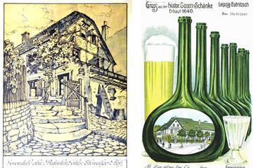 Bild wird vergrößert: Gosenschänke 'Ohne Bedenken' in Leipzig auf zwei historischen Postkarten