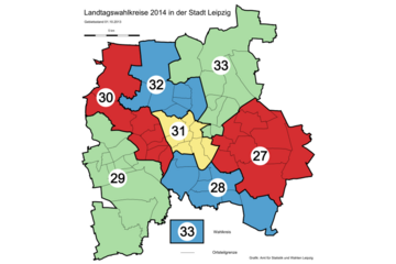 Bild wird vergrößert: Karte mit den Leipziger Landtagswahlkreisen 2014.