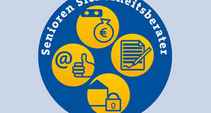 Blauer Kreis mit gelben Symbolen Internet, Finanzen, Verträge, Einbruchschutz und der Aufschrift Seniorensicherheitsberater