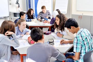Bild wird vergrößert: Das Foto zeigt Schüerlinnen und Schüler mit und ohne Migrationshintergrund in der Wiedebachschule Dresden. Foto: andré Forner