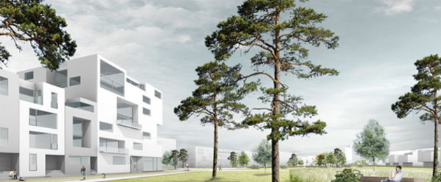 Visualiserung aus dem Wettbewerb zum Stadtraum Bayerischer Bahnhof mit Gebäuden und Bäumen