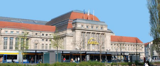 Gebäudeansicht des Hauptbahnhofs Leipzig