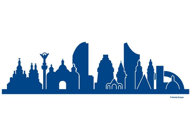 Motiv der Partnerschaftsbank auf dem Augustusplatz: Verschmelzung der Skylines von Kiew und Leipzig