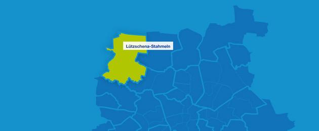 Karte mit den Umrissen Leipziger Ortsteile im Nordwesten. Lützschena-Stahmeln ist hervorgehoben.