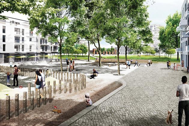 Breiter gepflasterter Platz zwischen mittelhohen Gebäuden mit Spielplatz, Bänken, Bäumen und einem Freisitz. Viele Menschen tummeln sich auf dem Platz.