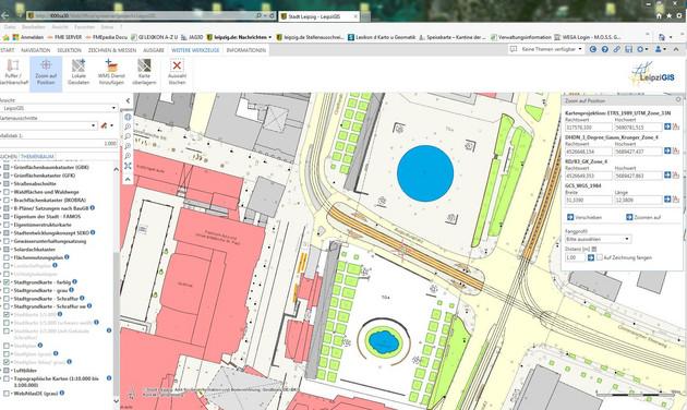 Screenshot, wie die Stadtgrundkarte am PC bearbeitet wird