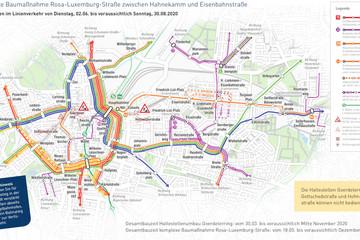 Bild wird vergrößert: Der Liniennetzplan zeigt die Verkehrsführung während der Bauzeit im Linienverkehr vom 2. Juni bis 30. August 2020.