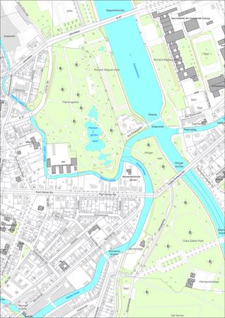 Ausschnitt aus der digitalen Stadtkarte Leipzigs mit farbiger Ausgabe und Flurstückskennzeichnung