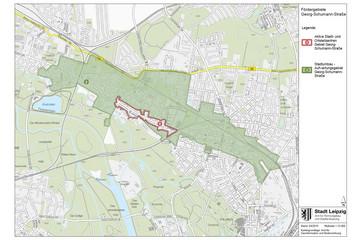 Bild wird vergrößert: Auf einer Stadtkarte sind die Grenzen von zwei Fördergebieten entlang der Georg-Schumann-Straße markiert.