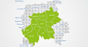 Eine Grafik der Stadt Leipzig. Die Stadtbezirke sind grün hervorgehoben.
