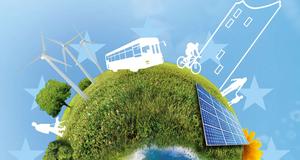 Graphik zum Klimaschutz mit grüner Erdkugel und schematischen  Einflussfaktoren auf das Klima