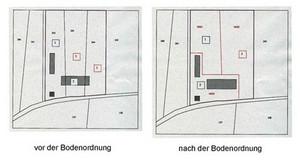Kartenausschnitte mit Darstellung von Grundstücken vor und nach einem Landtausch