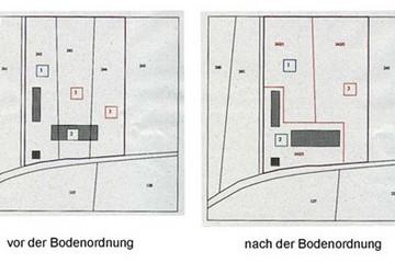 Bild wird vergrößert: Kartenausschnitte mit Darstellung von Grundstücken vor und nach einem Landtausch