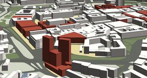 Stadtmodell von Leipzig mit rot markierten Gebäuden