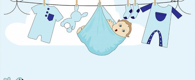 Grafik eines Baby, dass in einem Tuch an einer Wäscheleine hängt.