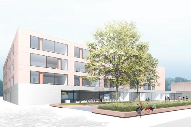 Visualisierung des mit Passivhausstandards geplanten fünfzügigen Gymnasium in der Telemannstraße in Leipzig-Zentrum Süd.