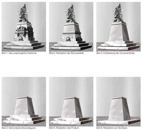 In sechs Bildern wird die Entstehung einer Skultur aus dem historischen Denkmal gezeigt.