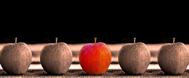 vier graue Äpfel und ein roter Apfel aufgereiht