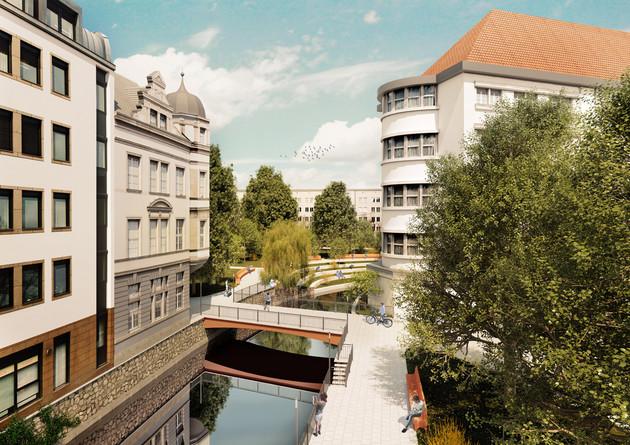 Visualisierung der Verlaufsvariante im historischen Flussbett hinter der Hauptfeuerwache