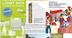 Titel verschiedener Faltblätter und einer Broschüre zum Thema Stadterneuerung