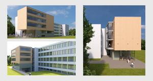 Drei Visualisierungen für den Erweiterungsbau der 91. Grundschule. Ein modernes kastenförmiges Gebäude mit großen durchgängigen Fensterflächen.