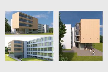 Bild wird vergrößert: Drei Visualisierungen für den Erweiterungsbau der 91. Grundschule. Ein modernes kastenförmiges Gebäude mit großen durchgängigen Fensterflächen.