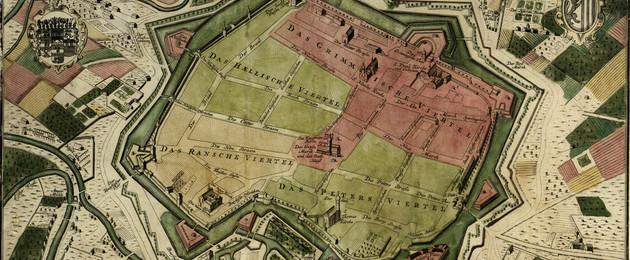 Straßenplan der Stadt Leipzig aus dem Jahr 1723 mit Einteilung der Stadtviertel