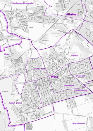 Stadtplan der Stadt Leipzig mit Stadtbezirken und Ortsteilen
