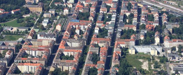 Luftbild Leipziger Osten, das EFRE-Gebiet