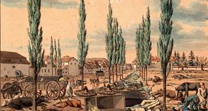 Radierung vom Schlachtfeld vor dem Ranstädter Tor in Leipzig am 20. Oktober 1813.