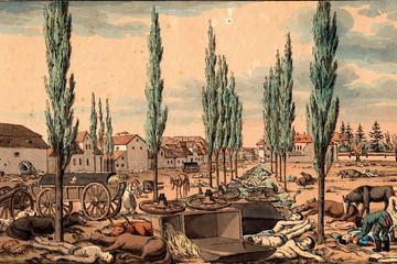 Bild wird vergrößert: Radierung vom Schlachtfeld vor dem Ranstädter Tor in Leipzig am 20. Oktober 1813.