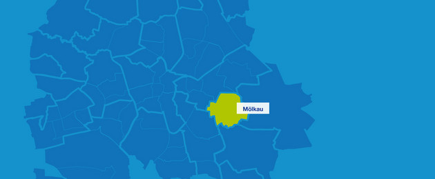 Karten mit den Umrissen der Leipziger Stadtteil. Mölkau ist hervorgehoben.