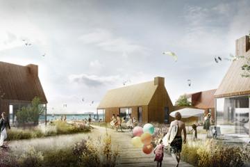 Bild wird vergrößert: Künstlerische Darstellung des geplanten Seedorfs am Nordufer des Zwenkauer Sees mit Holzhütten und Dorfplatz