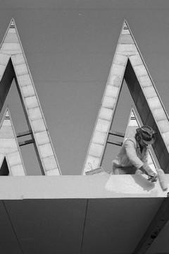 Bild wird vergrößert: Das Doppel M der Technischen Messe im Jahr 1975 Shcwarz-Weiß-Foto von Herbert Lachmann