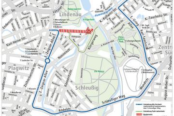 Bild wird vergrößert: Stadtplan mit eingezeichneter Umleitungsstrecke für die Baumaßnahme Plagwitzer Brücke und Karl-Heine-Straße