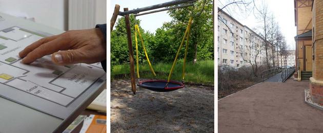 Zu sehen sind drei Beispiele geförderter Maßnahmen ein Blinden-Guide, eine Rollstuhlrampe zu einer Kirche und eine Schaukel auf einem Spielplatz