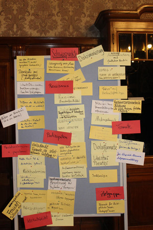 Pinnwand mit beschrifteten Moderationskarten als Ergebnis der Arbeitsgruppen.
