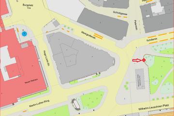 Bild wird vergrößert: Lage des geodätischen Referenzpunkts in Leipzig