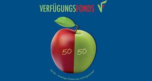 Apfelgrafik mit grüner und roter Hälfte symbolisiert die 50prozentige Förderung