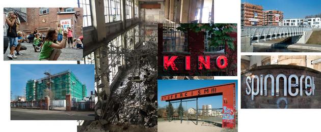 Ein Kaleidiskop der Themen zum Tag der Städtebauförderung mit Fotos der Baumwollspinnerei, des Lindenauer Hafens und des Bürgerbahnofs Plagwitz