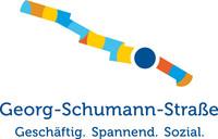 Logo der Georg-Schumann-Straße mit Text: Georg-Schumann-Straße - geschäftig, spannend, sozial.
