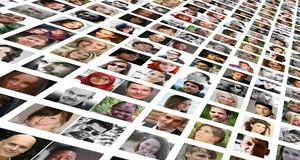 Passbilder verschiedener Menschen sind auf einer Collage vereint.