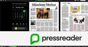 Bildschirmfoto vom Presseportal Pressreader mit Zeitung in Originallayout, darunter Logo-Schriftzug Pressreader