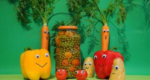 Lustiges Gemüse mit Augen
