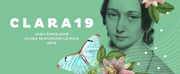 Plakatmotiv: sepiafarbenes Porträt von Clara Schumann auf grünem Grund mit Schriftzug Clara19 und Blumenelemenen