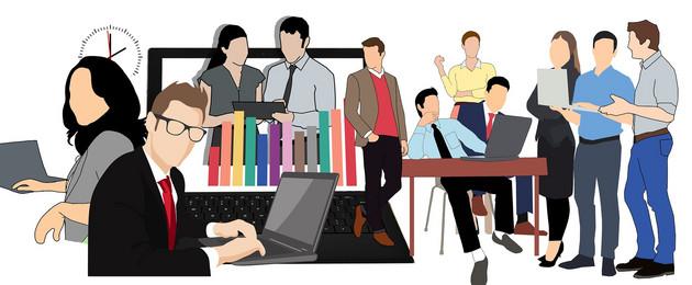 Zeichnungen von Menschen beim Meeting im Büro, am Laptop und so weiter
